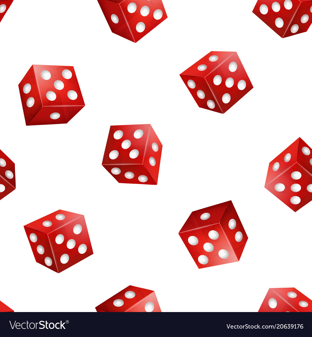 Realistic 3d red casino dice seamless pattern