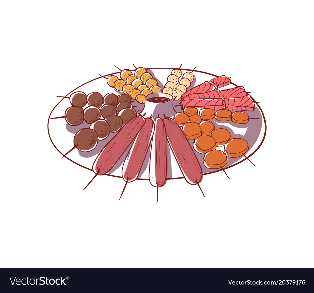 Satay skewers isolated icon vector image