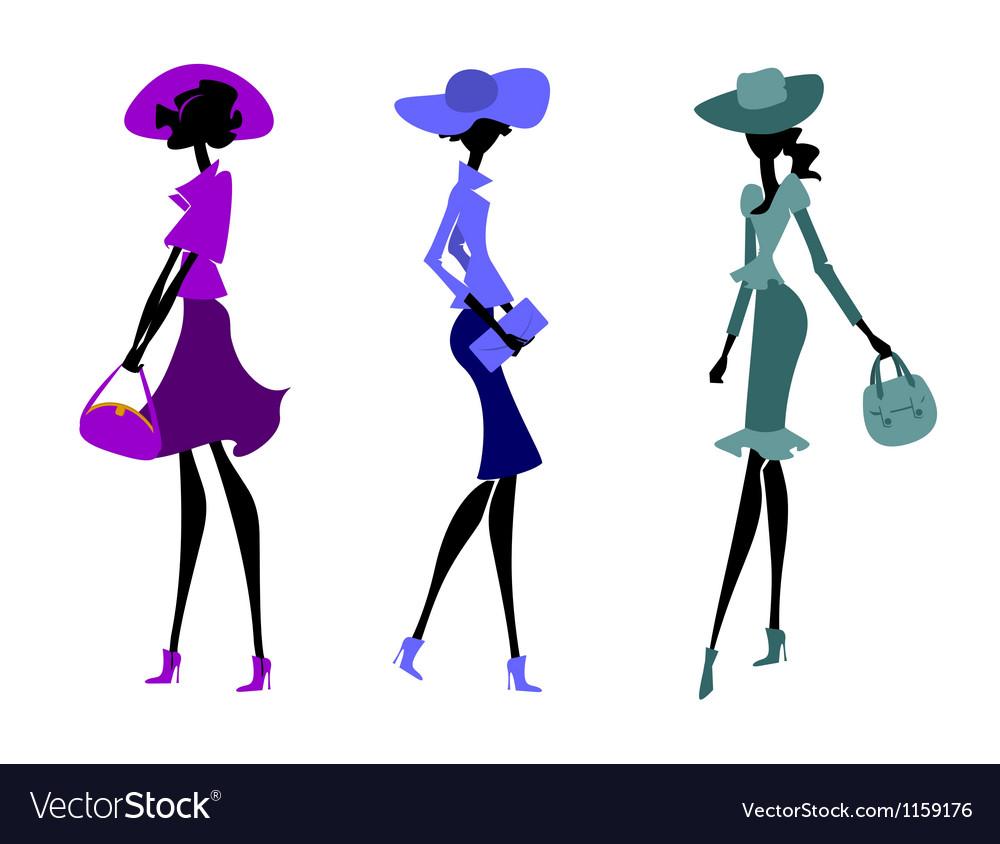 Three women in hats vector image