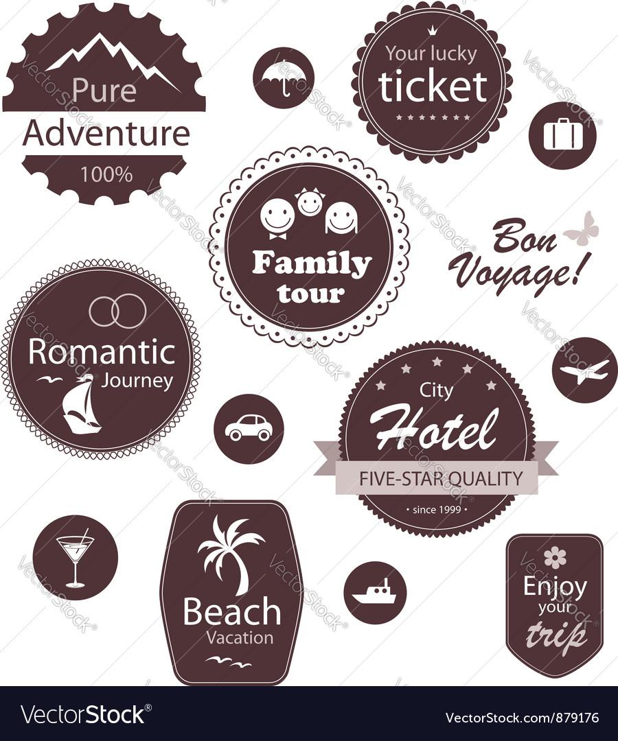 Travel and vacation emblems set