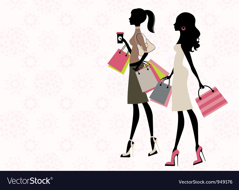 a546c21bd Two women shopping Royalty Free Vector Image - VectorStock
