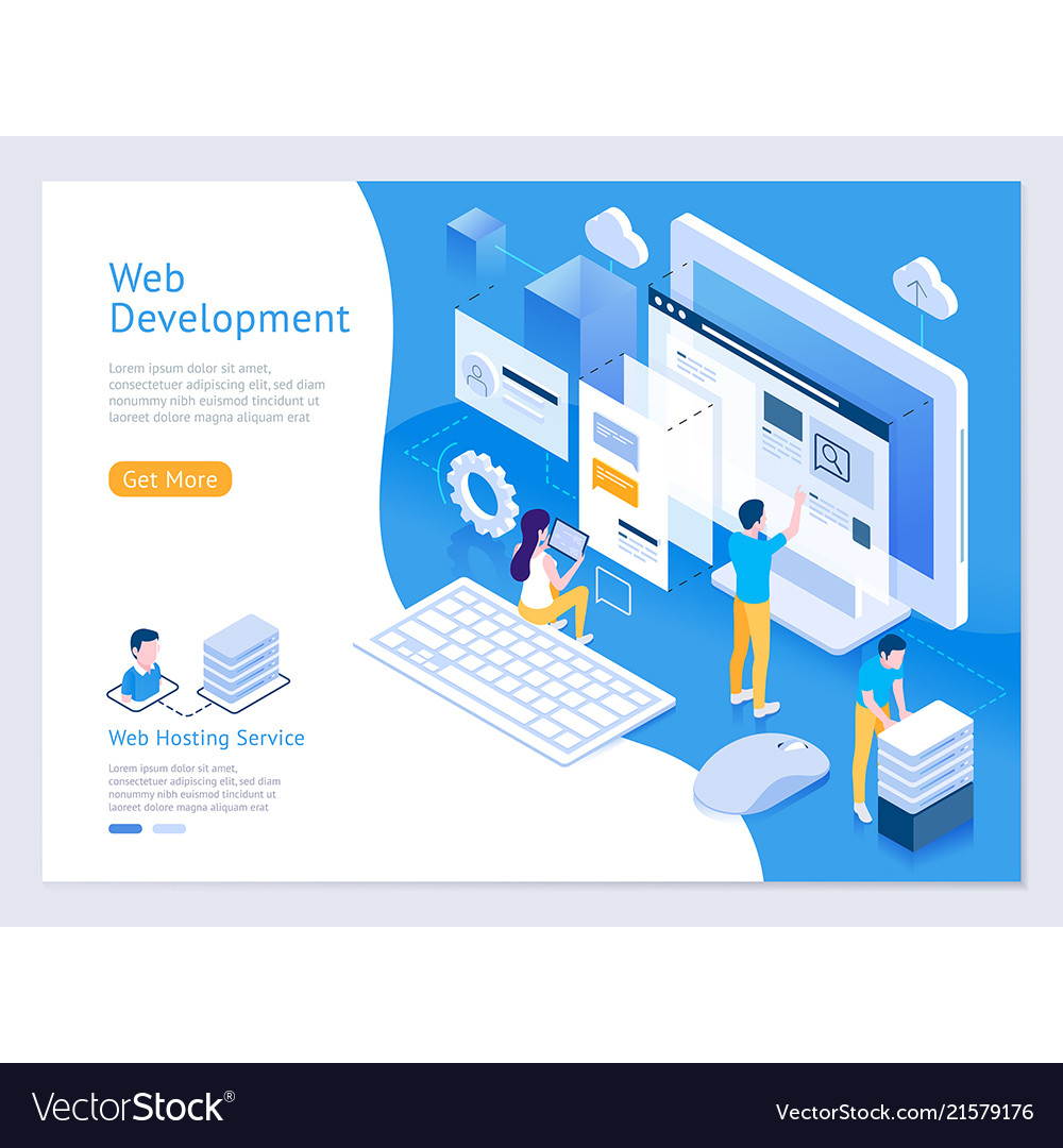 Web Design And Development Isometric Royalty Free Vector