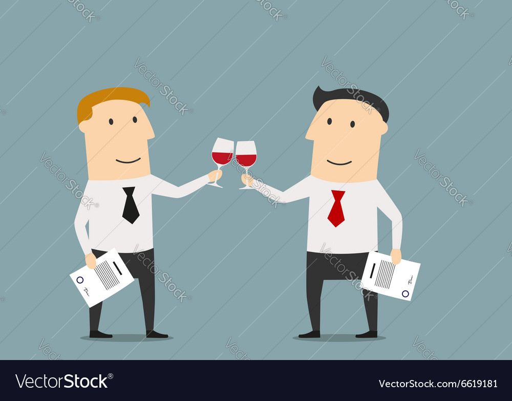 Businessmen celebrating signing contract