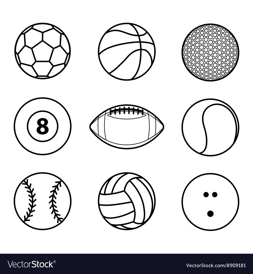 Collection sport ball icon black outline
