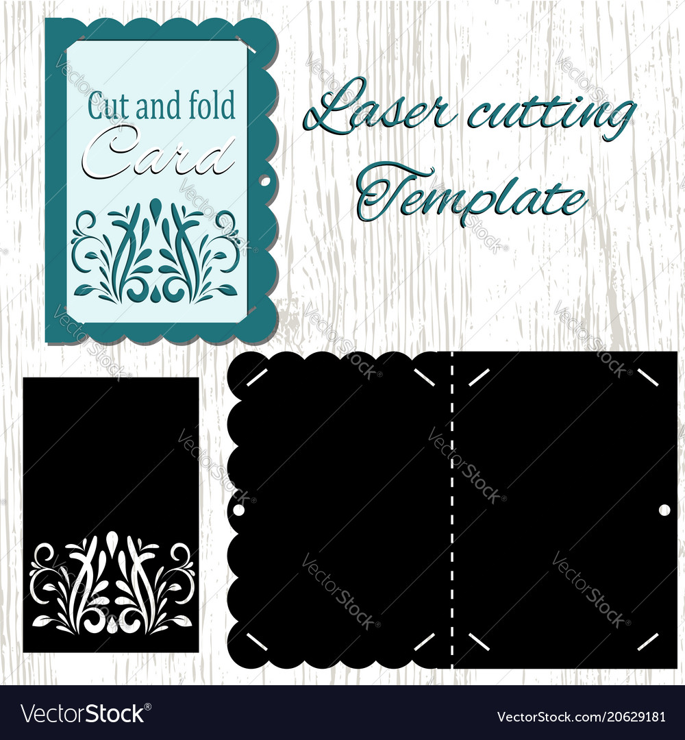 cut and fold card template royalty free vector image
