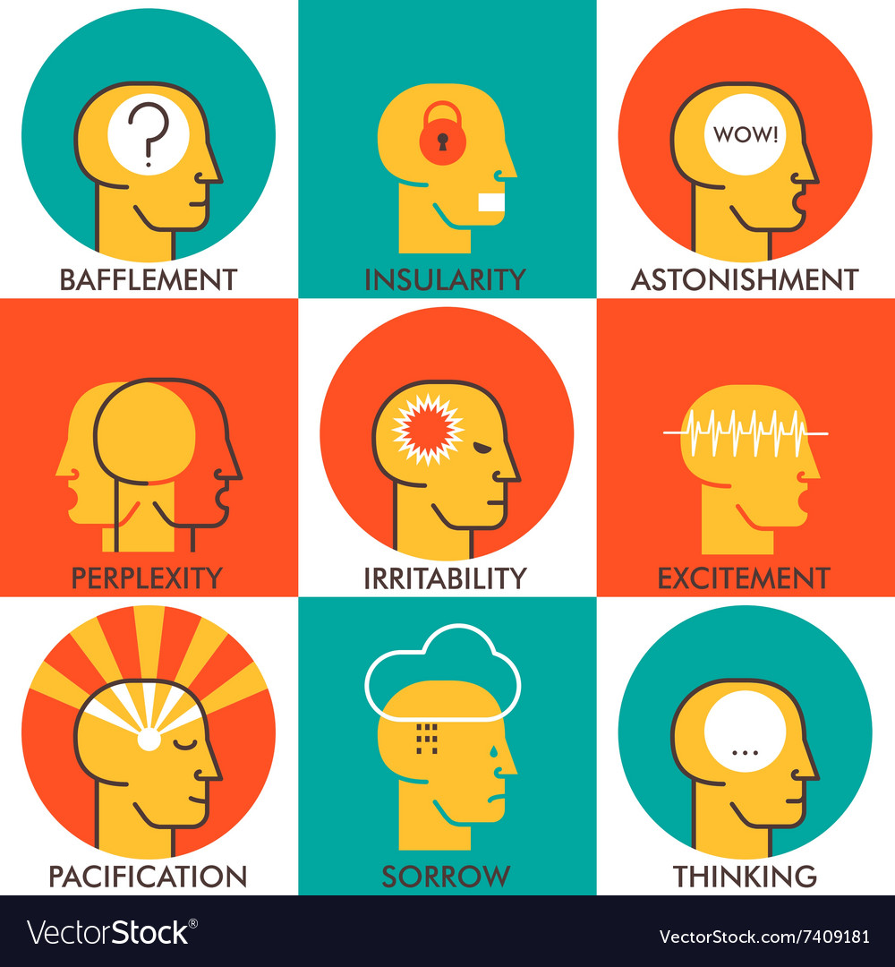 Flat line icons set human emotions icons Modern
