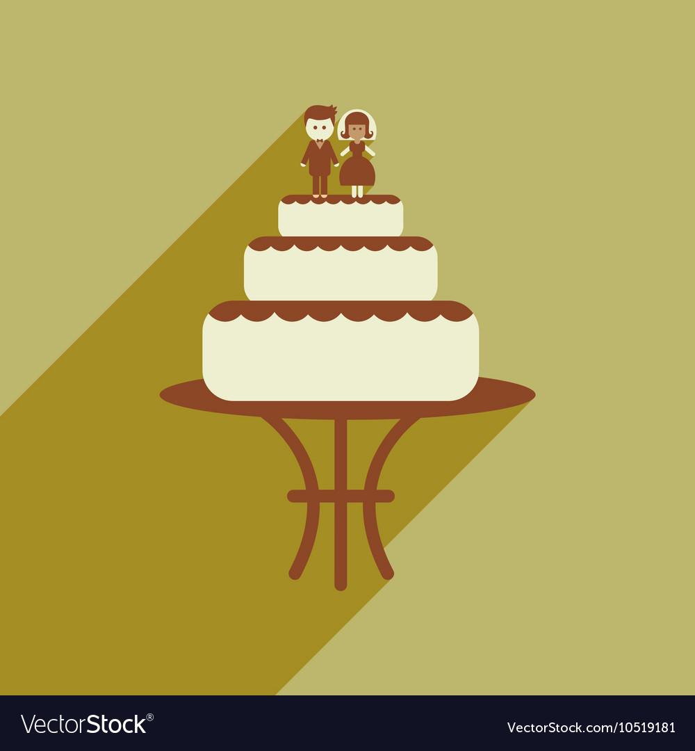 Flat web icon with long shadow wedding cake Vector Image