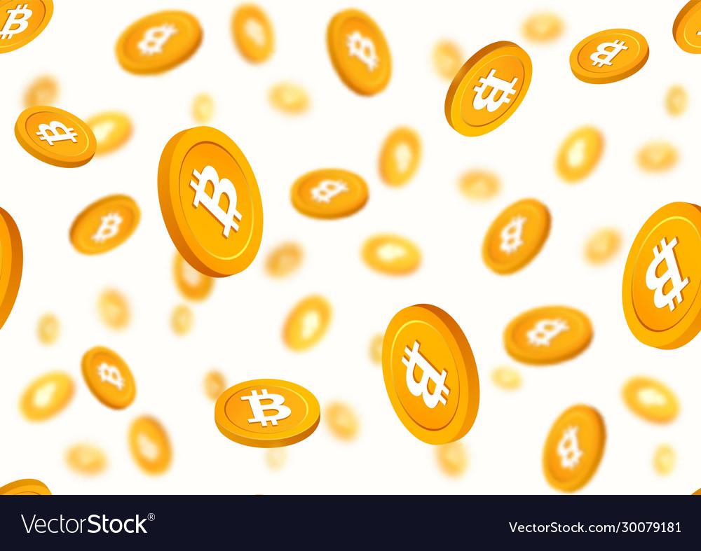 Golden coins bitcoin falling down seamless