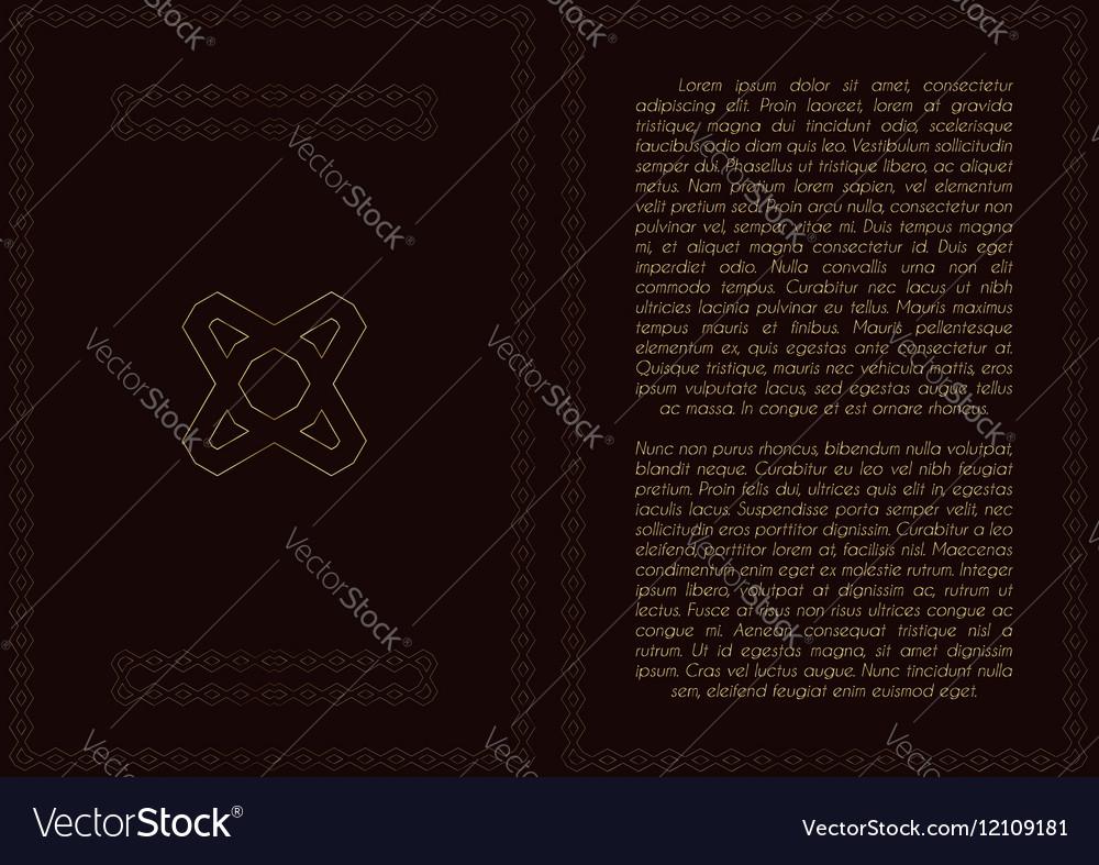 Golden frame with logo in A4 format for restaurant vector image