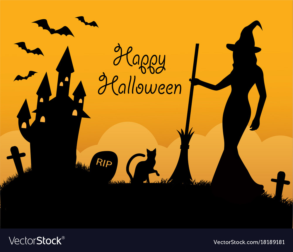 Halloween card with holiday symbols