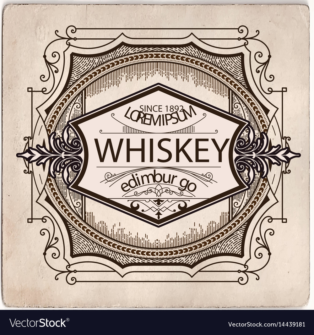 Hand drawn whiskey label