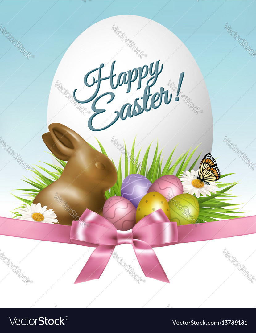 Happy easter background colorful eggs and
