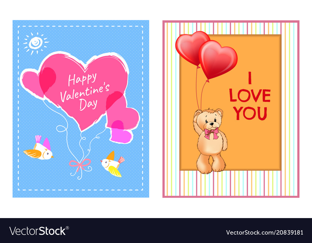 Happy valentines day postcards with heart and bear