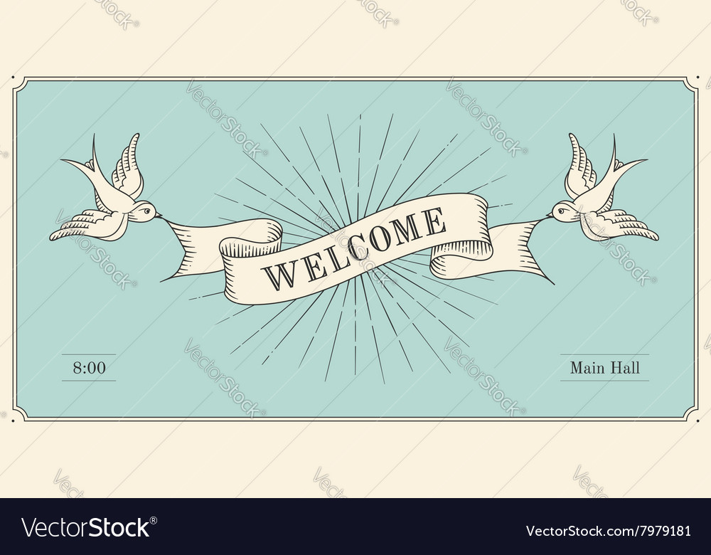 Invitation with word welcome old vintage ribbon vector image stopboris Gallery