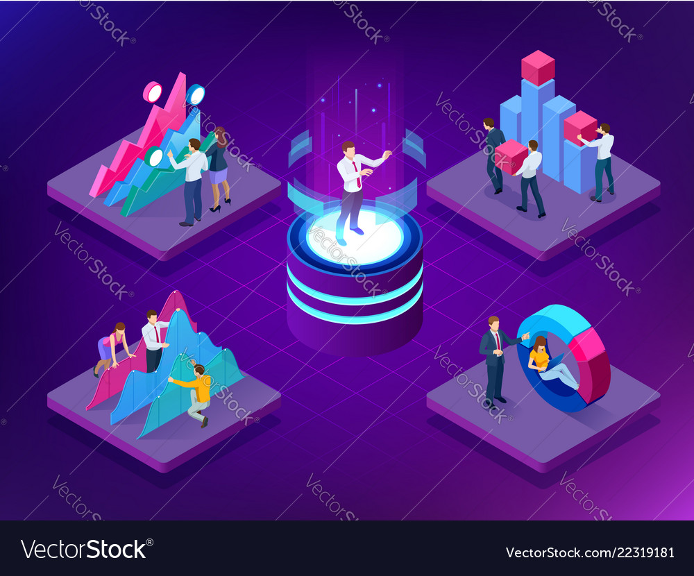 Isometric concept business teams meeting