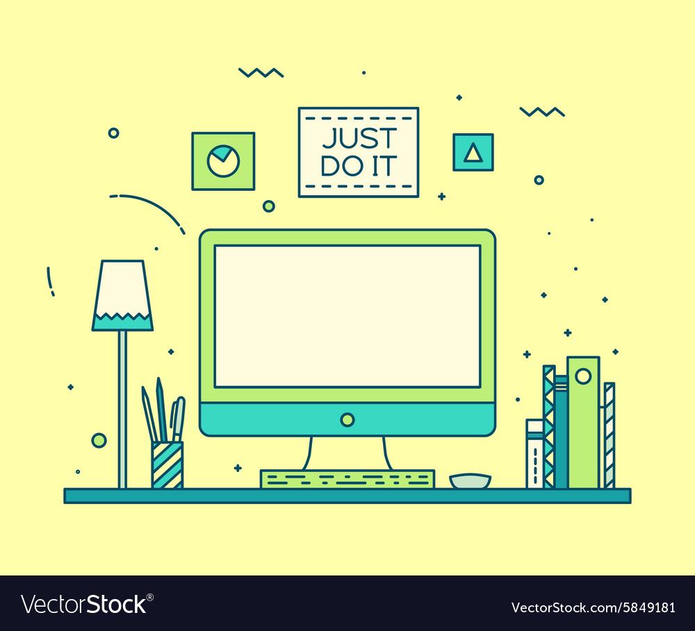 Modern designer work space linear style computer