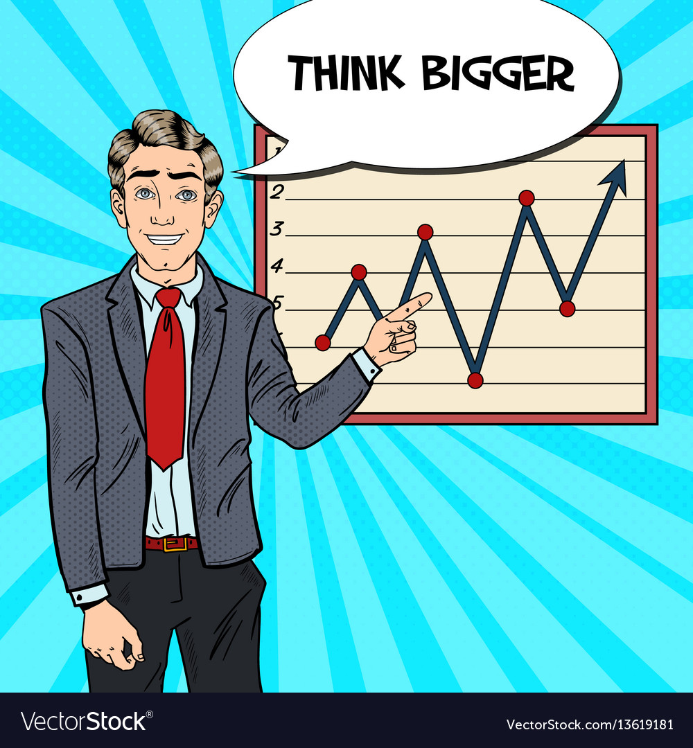 Pop art business man pointing growth graph vector image
