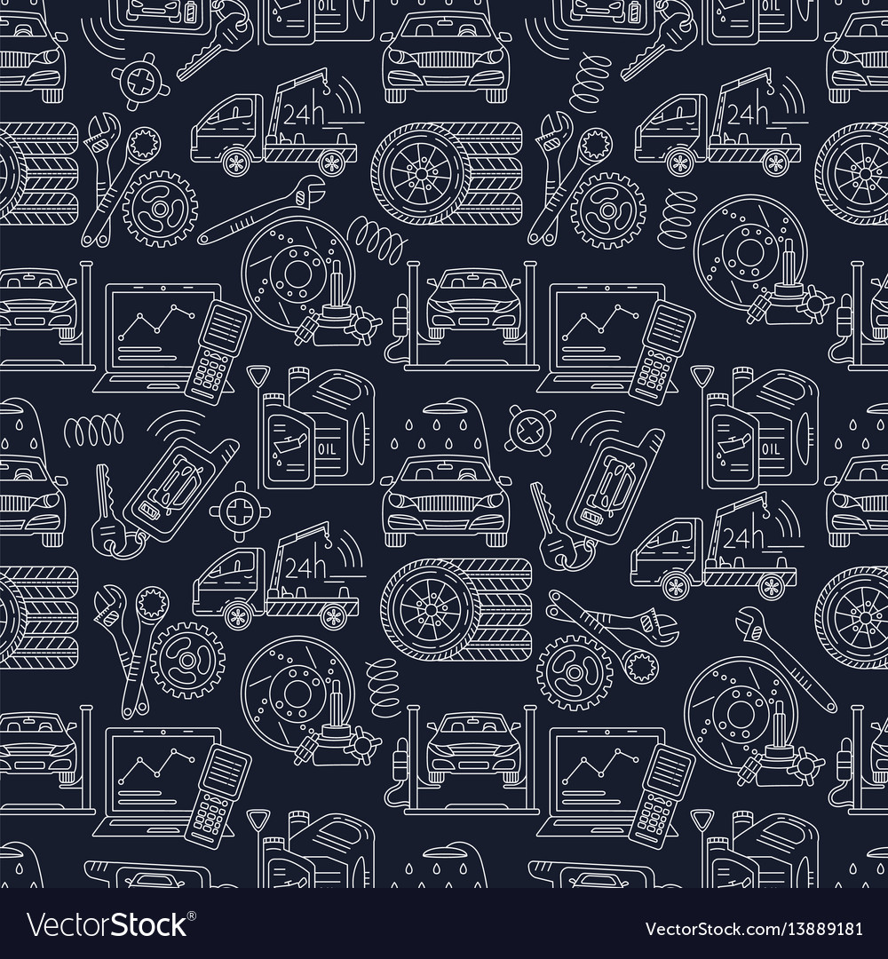 Seamless pattern with car service thin line