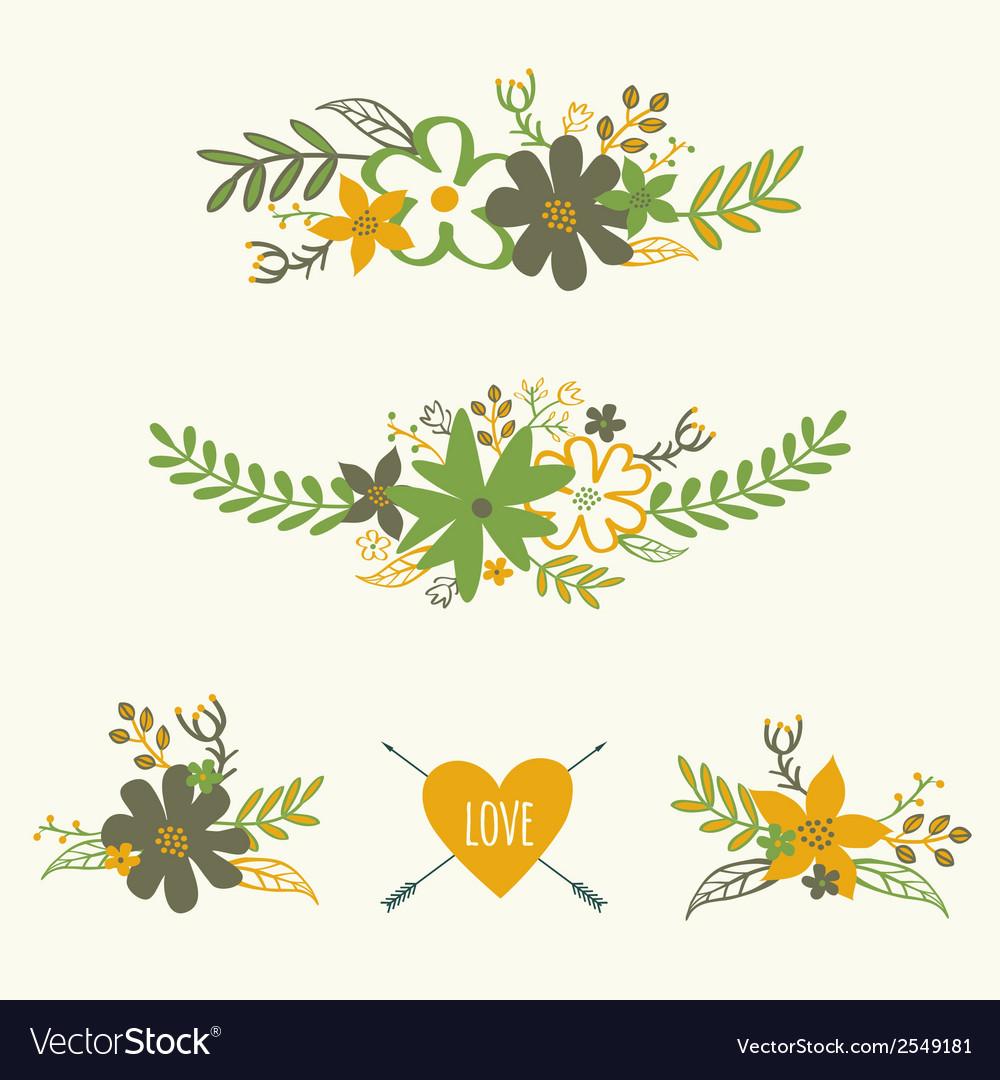 Set of cute retro floral bouquets