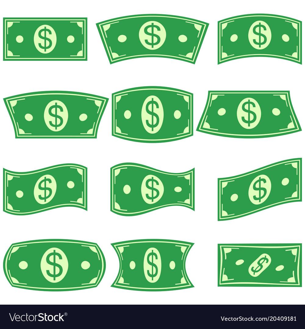 Set of dollar bill money banknotes deformation vector image