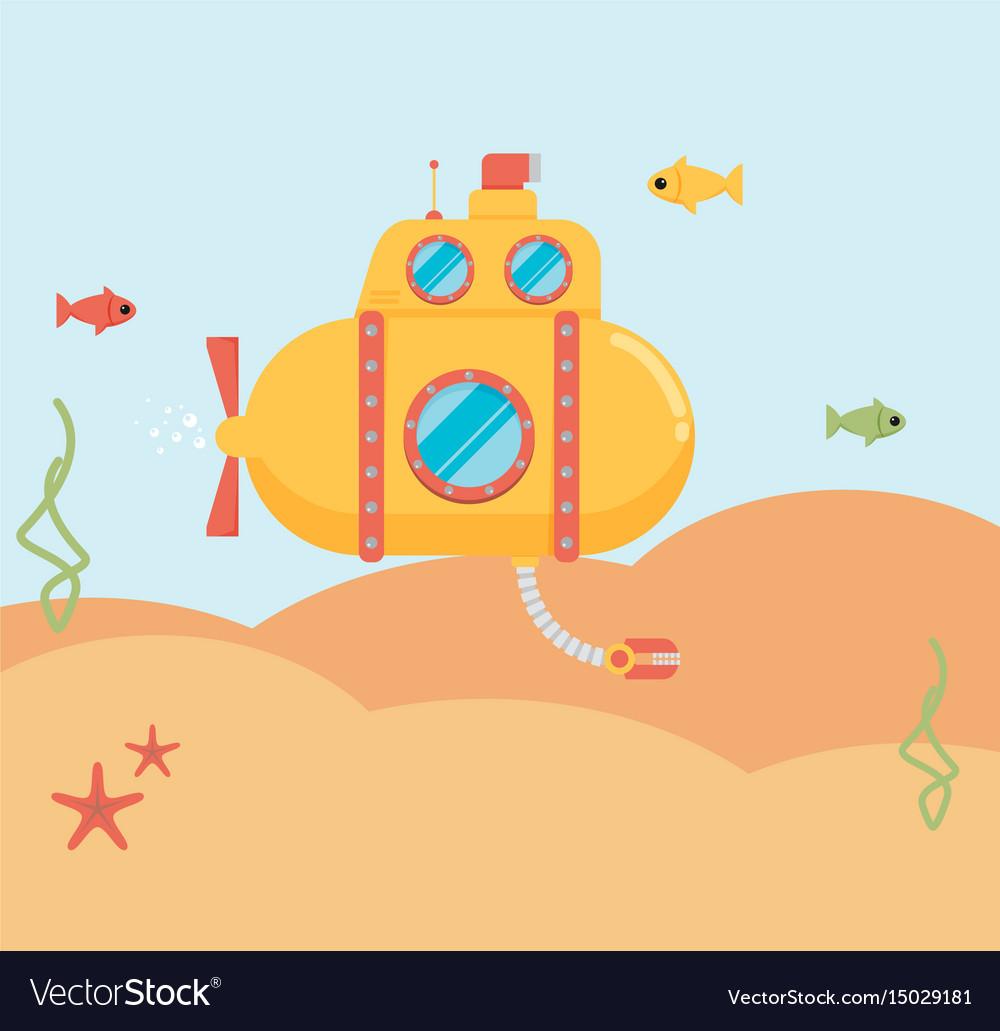 Submarine under water concept flat