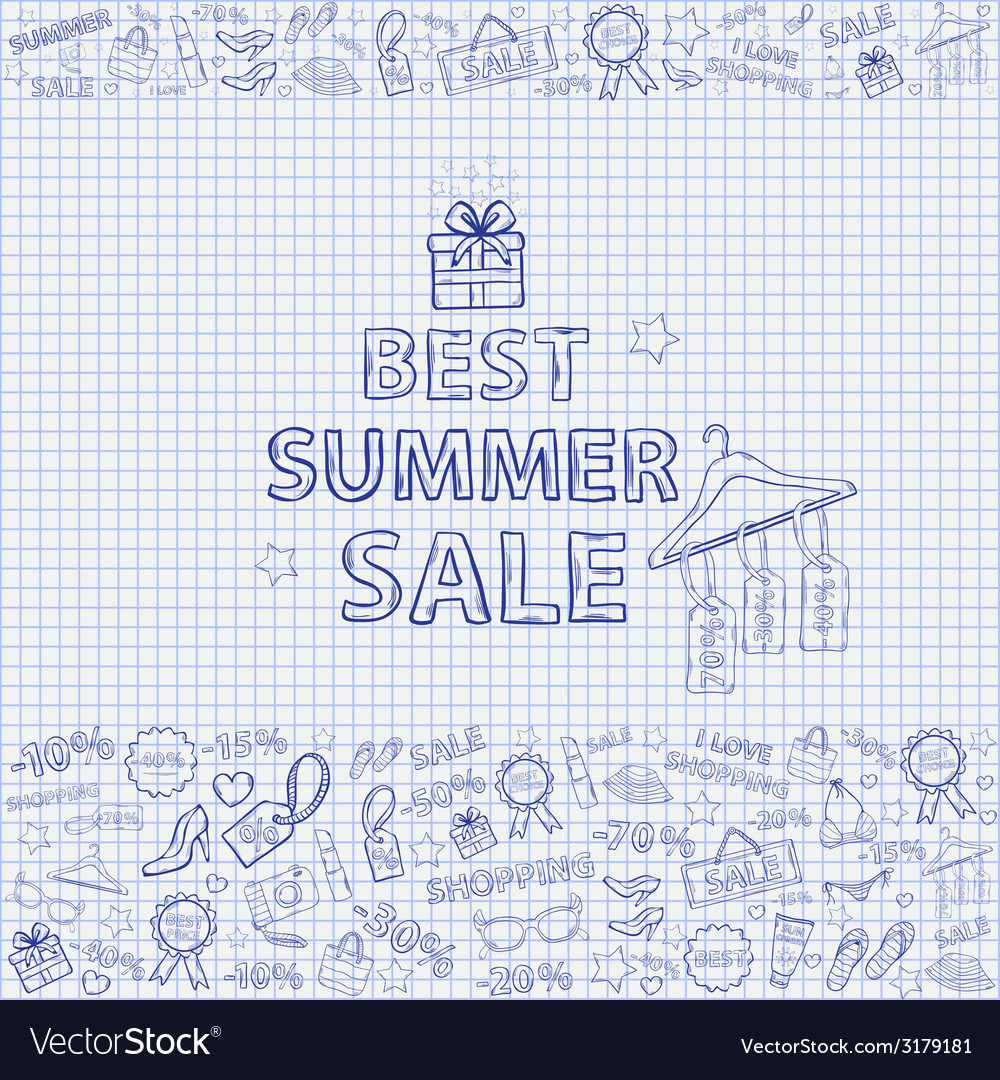 Summer sale on the notebook sheet hand draw