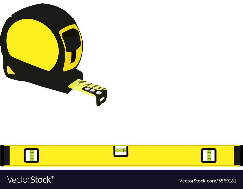 Yellow level construction and tape measure