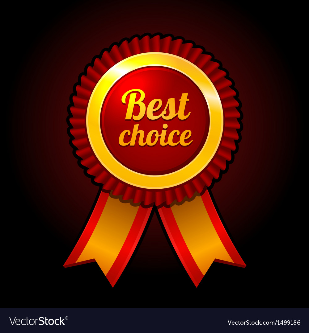 Award label Best choice with ribbons