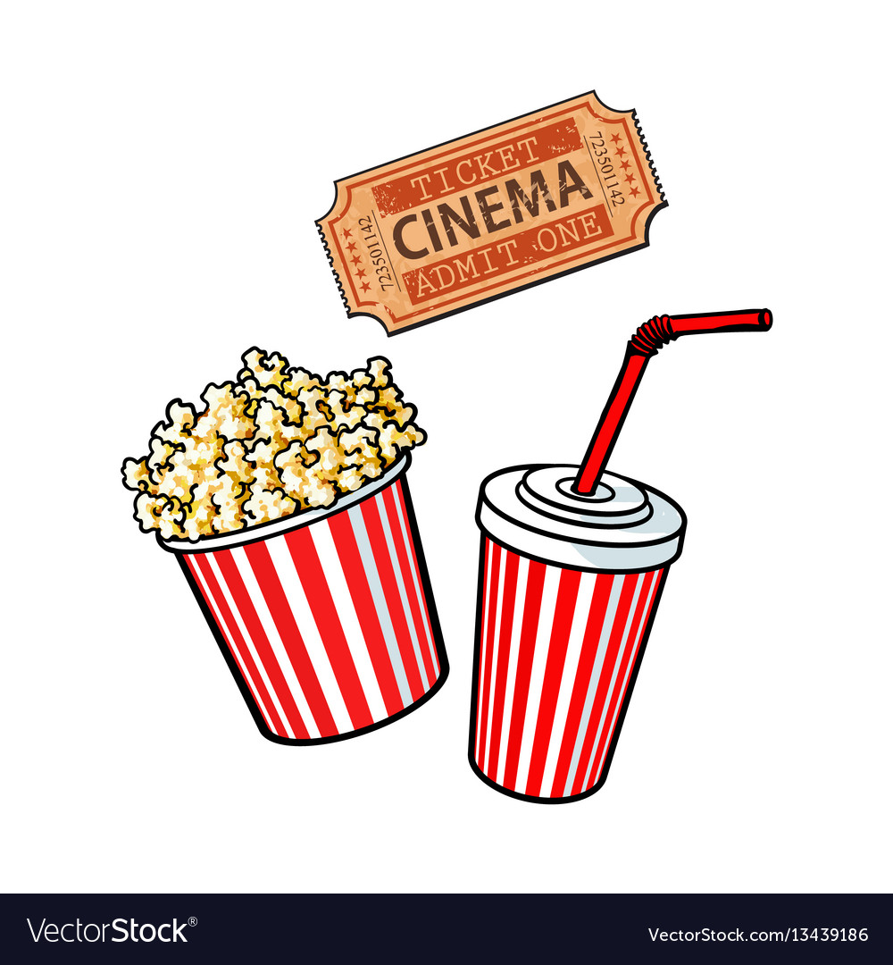 Cinema Objects Popcorn Bucket Soda Water And Vector Image