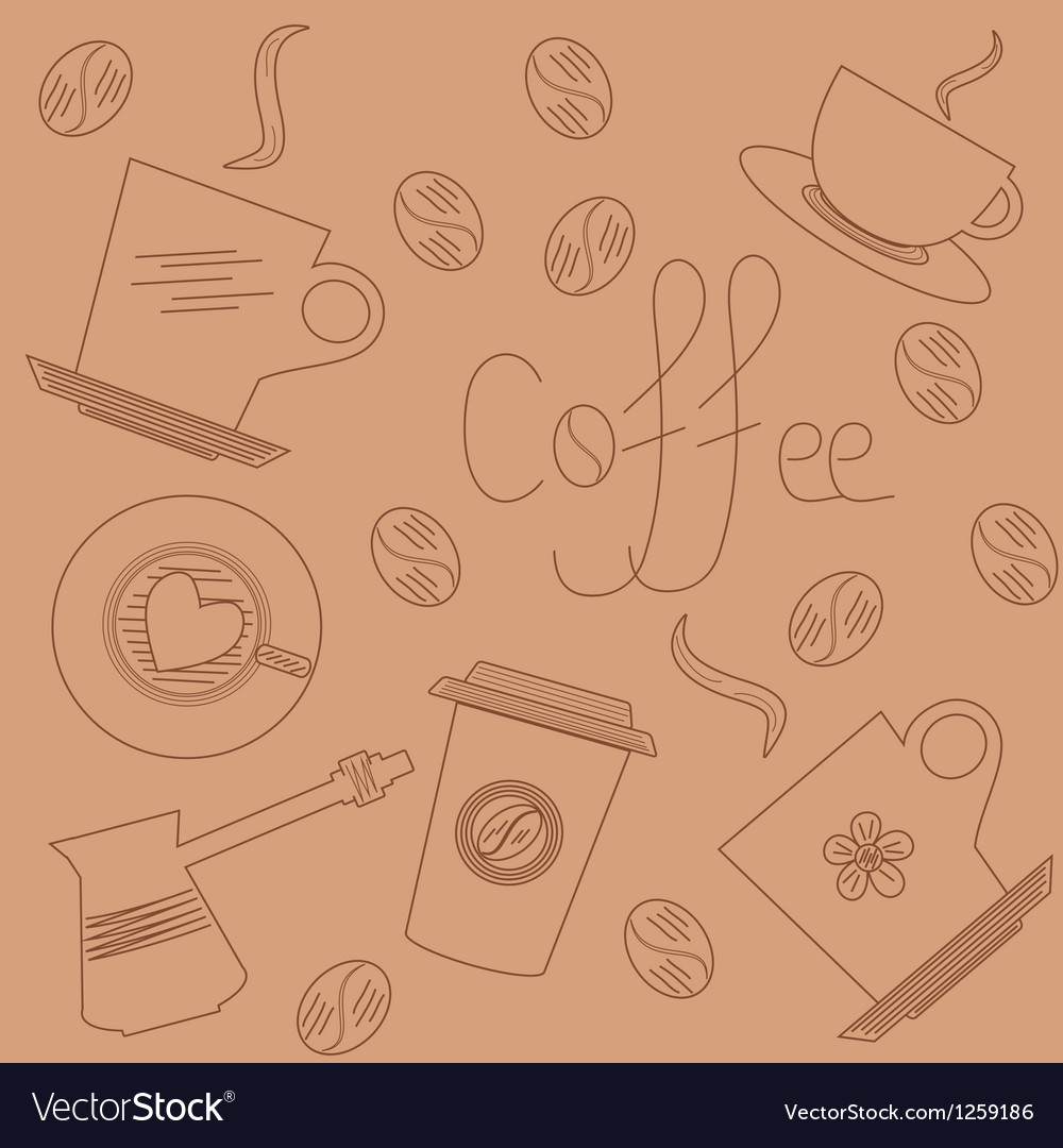 Coffee background in hand draw style vector image