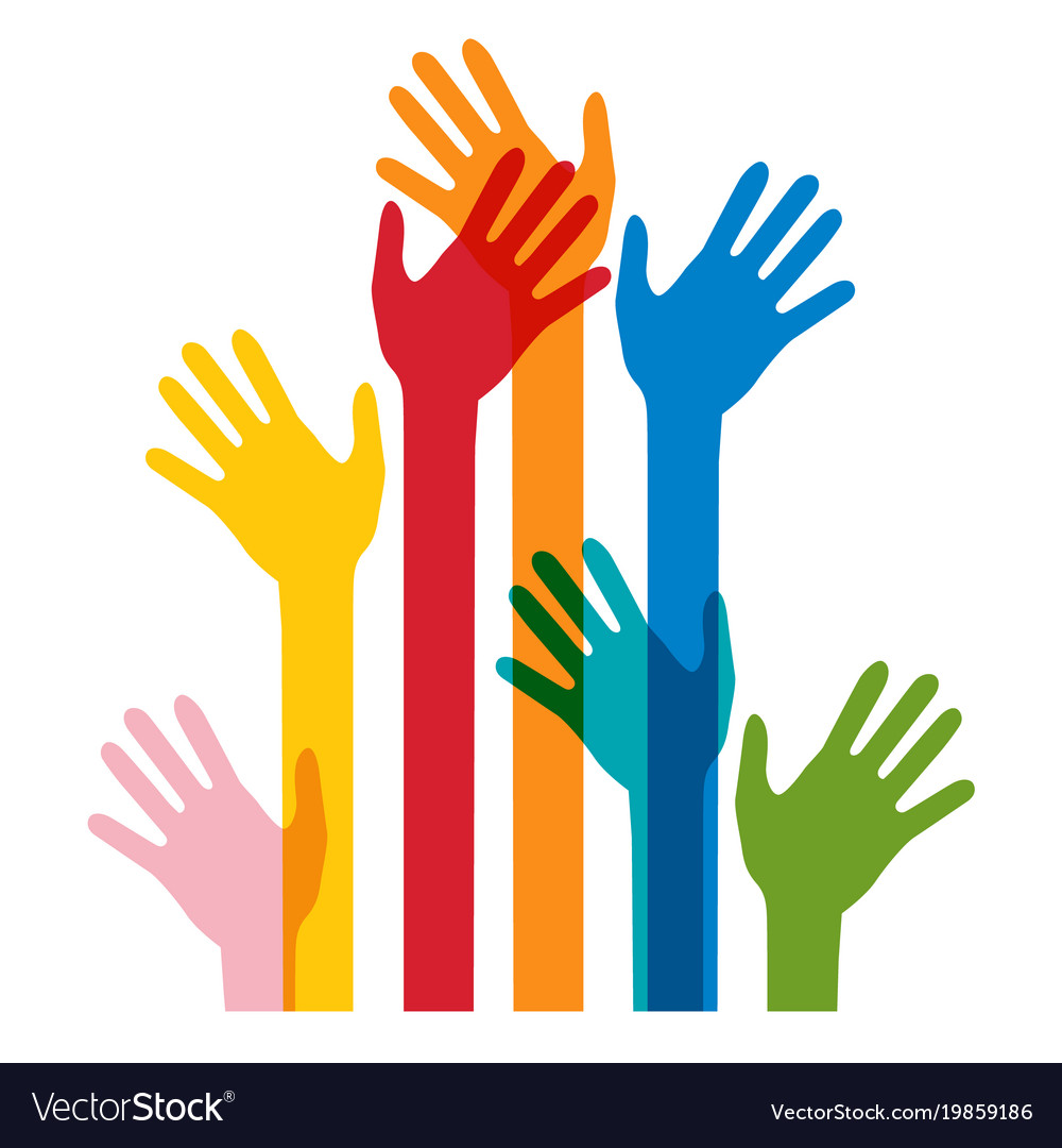 Colorful human hands isolated on white bckground vector image