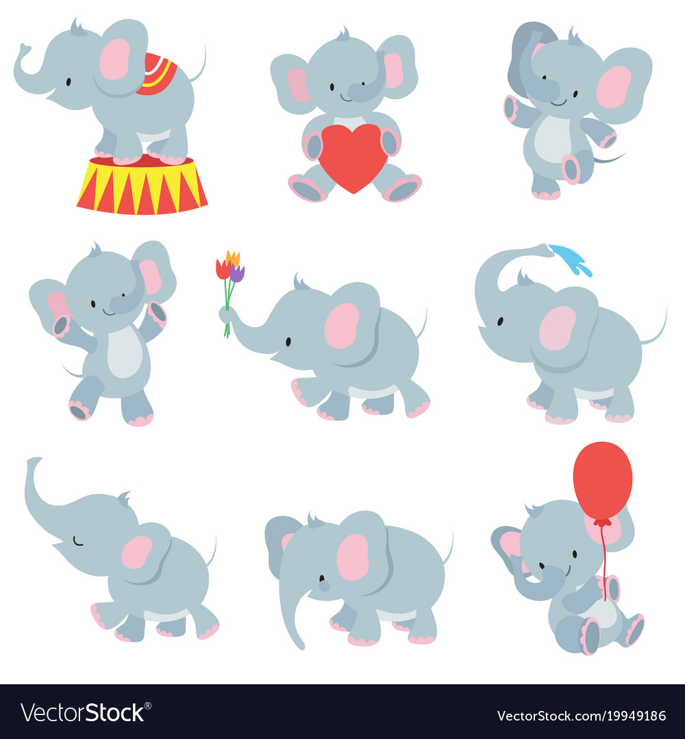 Funny cartoon baby elephants collection for vector image
