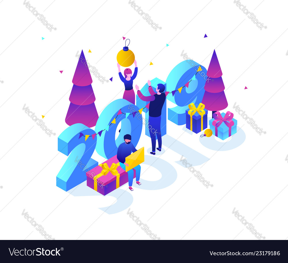 Happy new year - modern colorful isometric