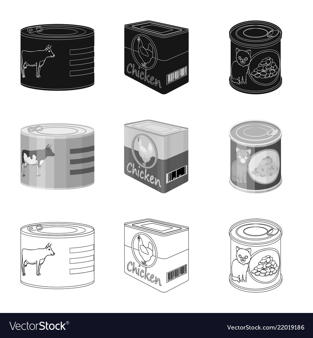 Isolated object of can and food logo set of can