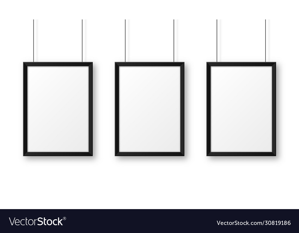 Realistic hanging on a wall blank black picture