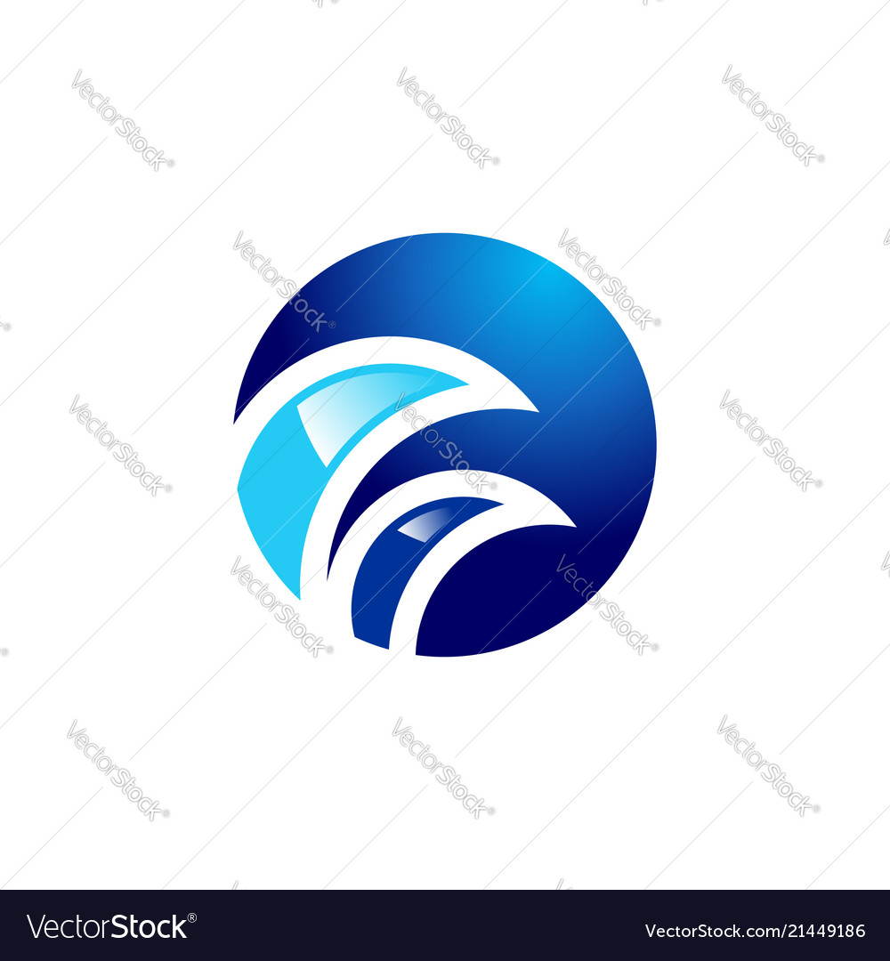 Round circle waves logo blue sphere symbol icon