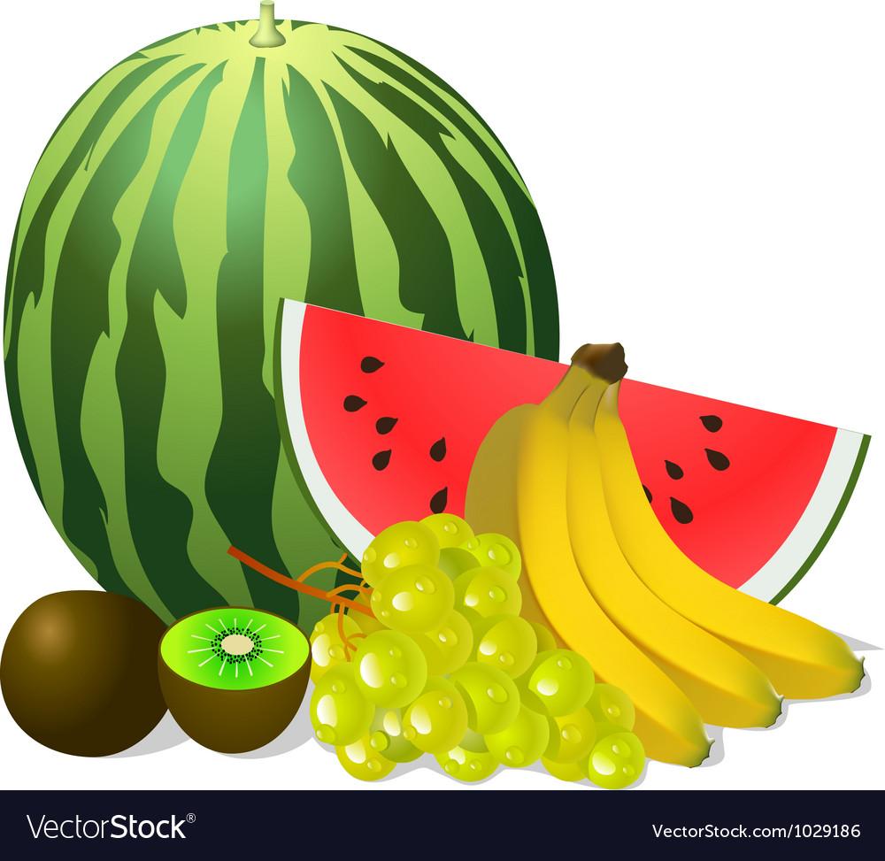 Still life fruits banana watermelon grape kiwi