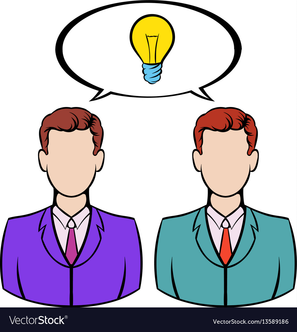 Two businessmen and lightbulb icon icon cartoon