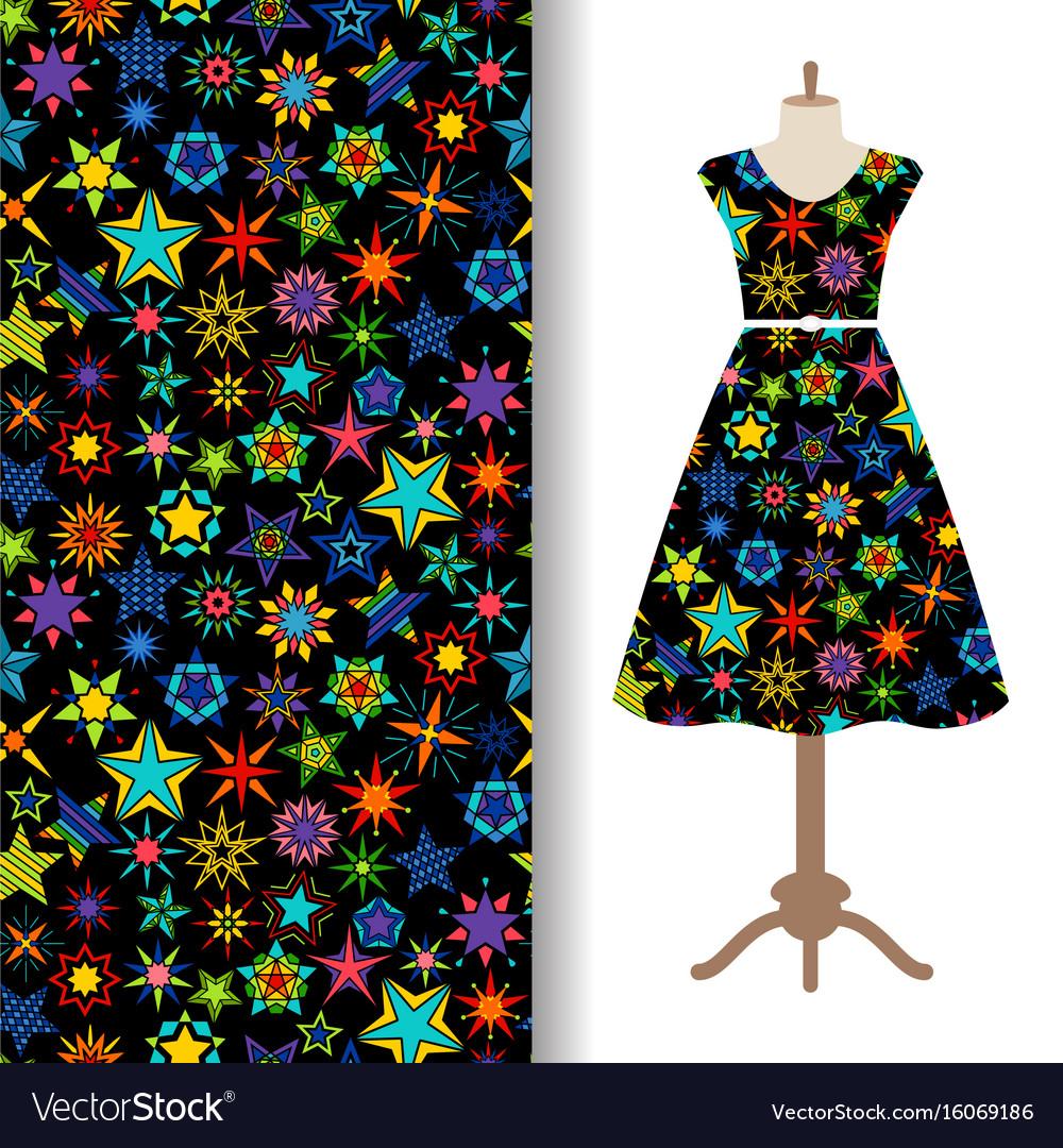 Women fabric pattern with kaleidoscope stars