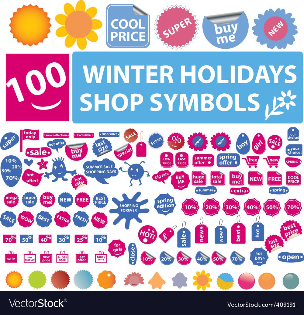 100 Winter Holidays Shop Symbols Royalty Free Vector Image
