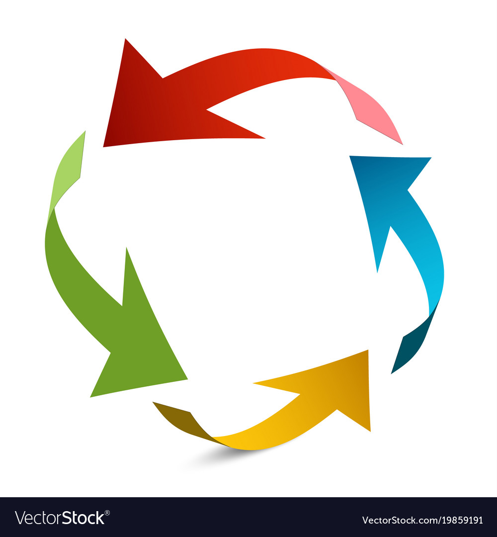 Arrows in circle paper arrow vector image