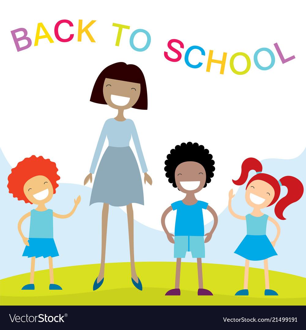 Cheerful teacher and school kids