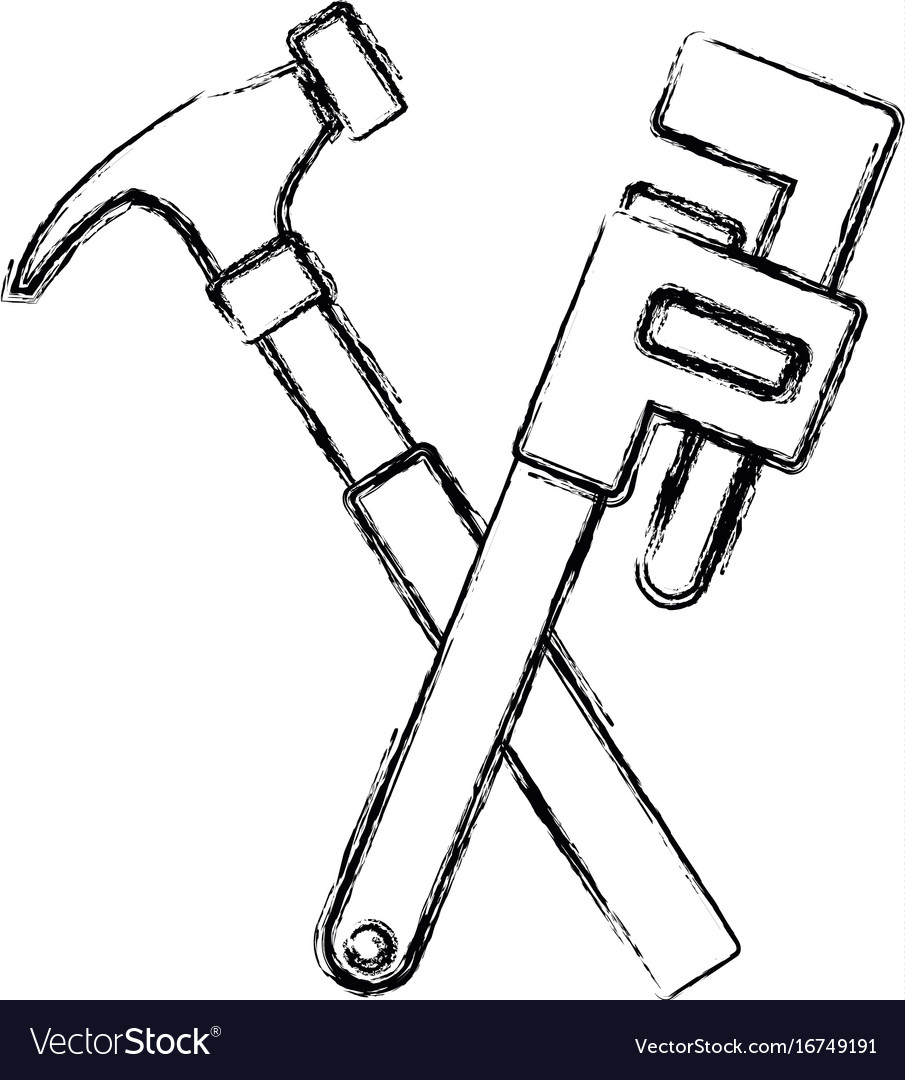 Hammer and adjustable wrench tools repair