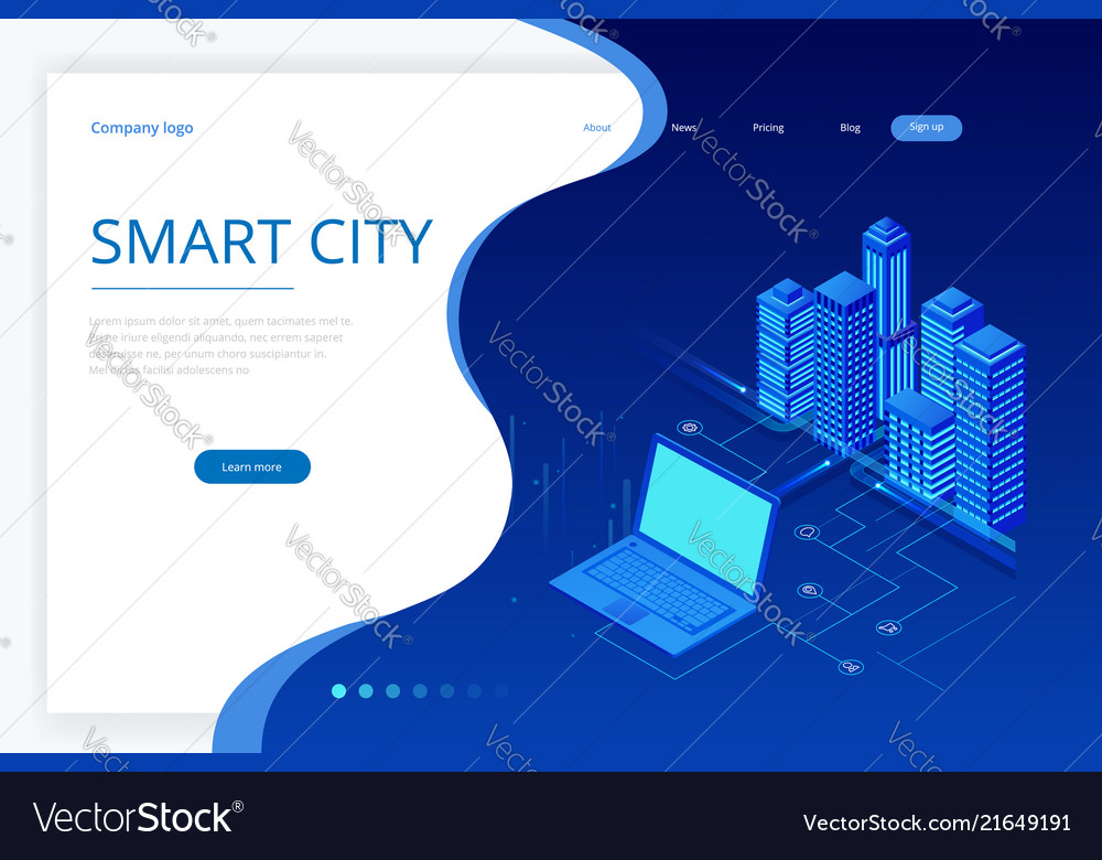 Isometric modern city concept website template
