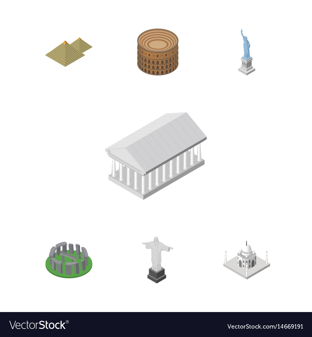 Isometric travel set of india mosque coliseum
