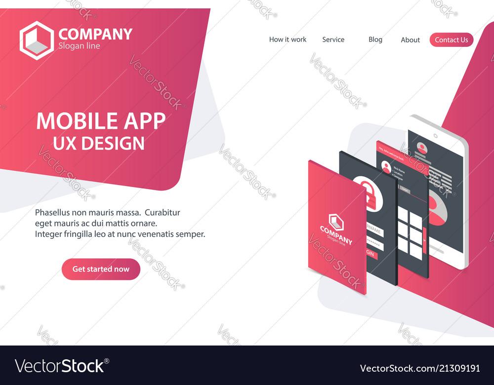 Mobile app website landing page template concept