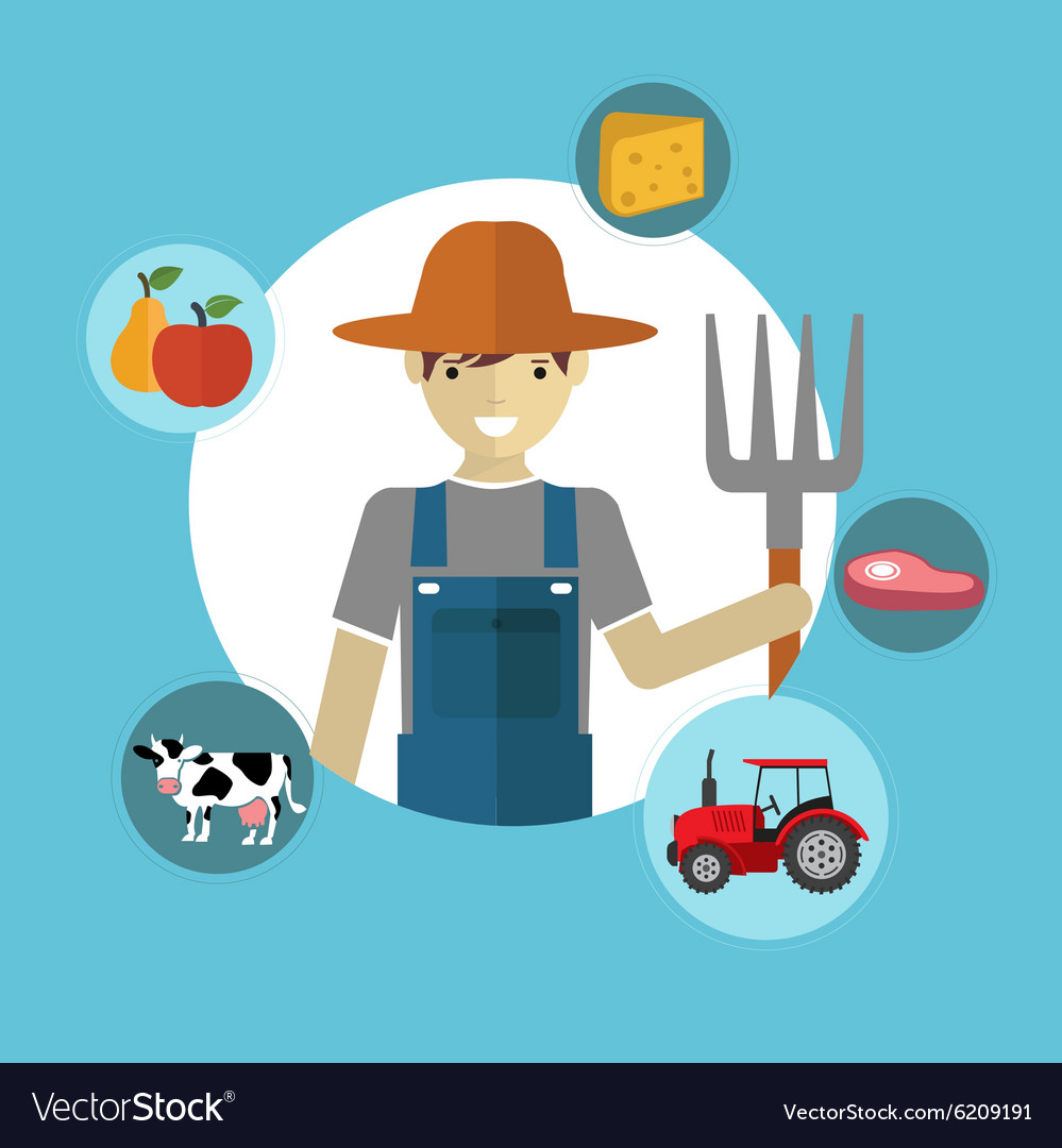 Modern flat concept of Farmer and Organic Clean