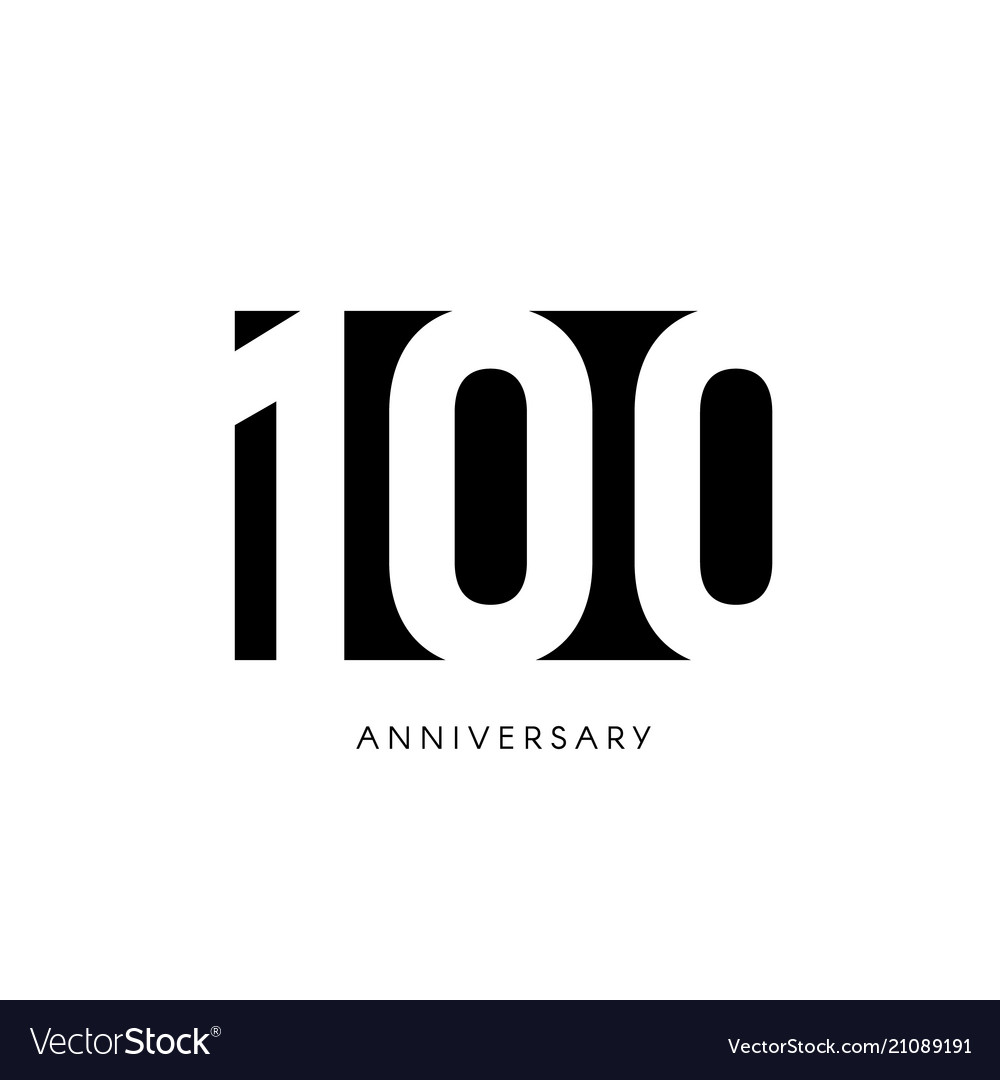 One hundred anniversary minimalistic logo one