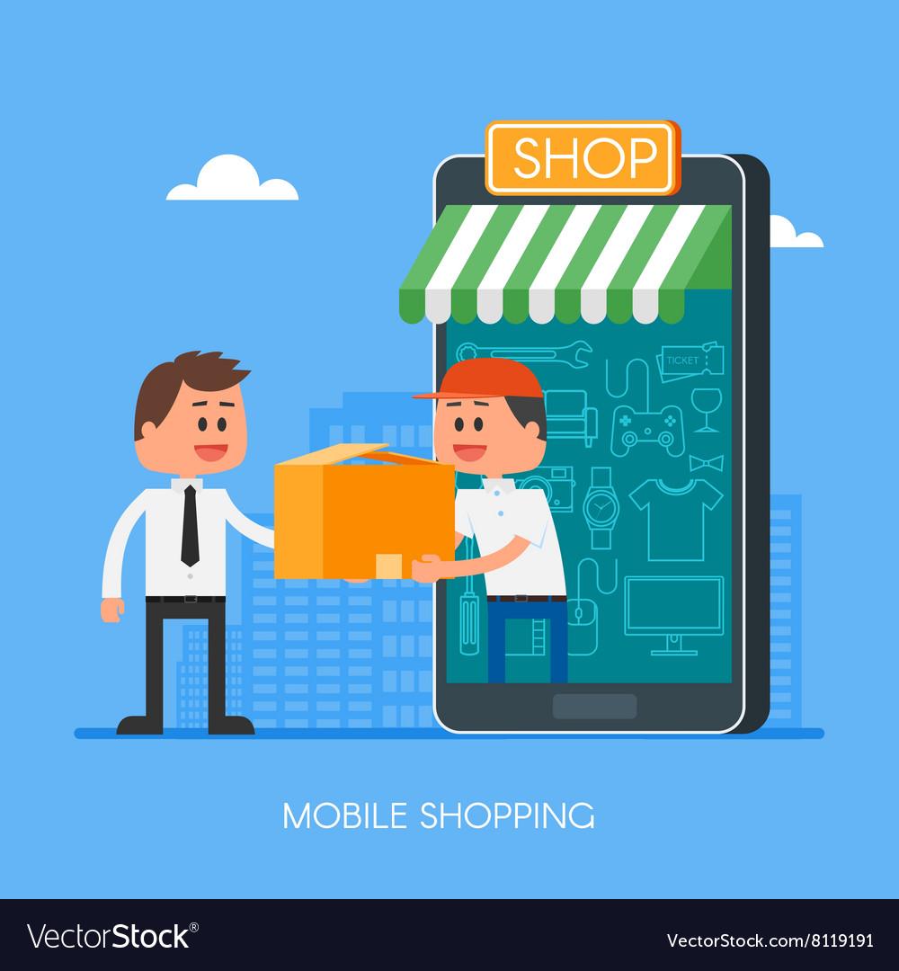 Online shopping on internet using mobile