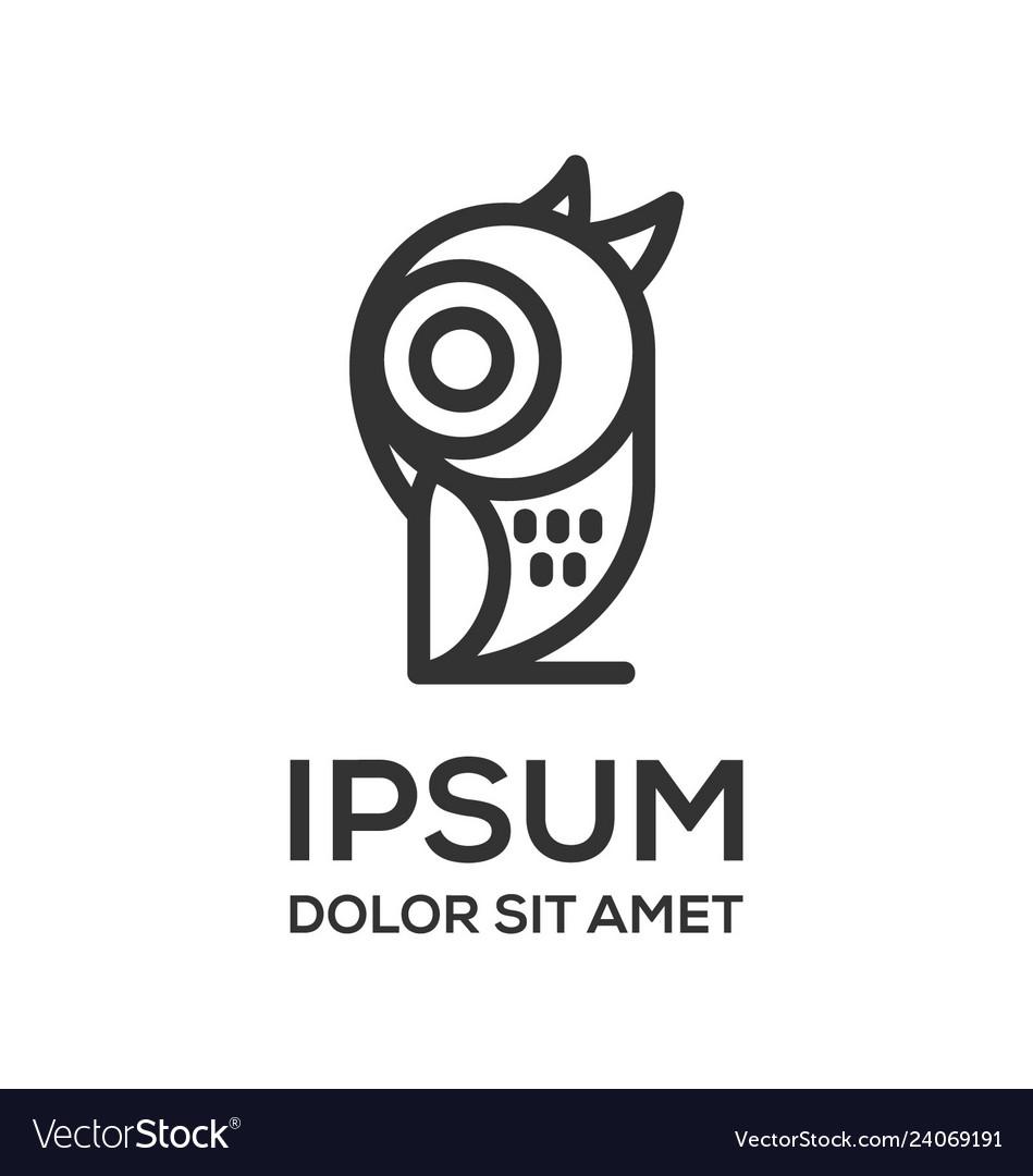 Owl line art logo design